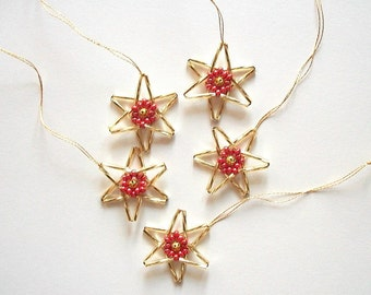 Beaded Star Ornaments Hand Beaded Golden Hangings Set of  5 pieces
