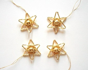 Golden Star Ornaments Christmas Tree Hangings Hand Beaded Set of 4 pieces