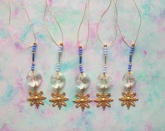 Crystal Ornaments with Brass Snowflakes Genuine Crystals and Blue Glass Beads 5 pcs
