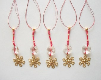 Crystal Ornaments with Brass Snowflakes Genuine Crystals and Red Glass Beads 5 pcs