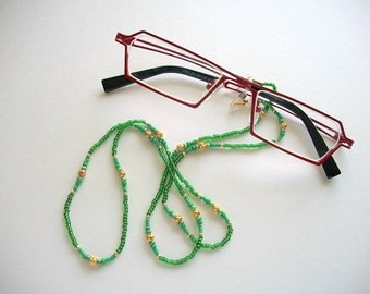 Green Eyeglass Lanyard Beaded Necklace with Goldplated Filigree Beads