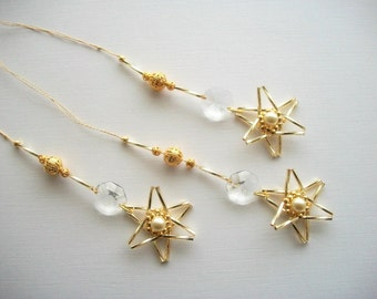 Star Ornaments Golden Hangings with Vintage Genuine Crystals Beaded Stars and Goldplated Filigree Beads