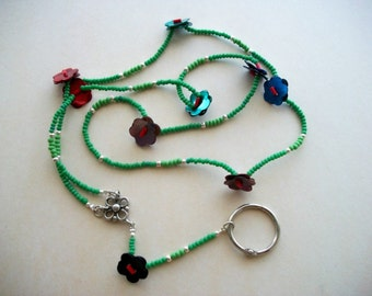Beaded Lanyard with Dyed Mother of Pearl Flower Bottons in Different Colours