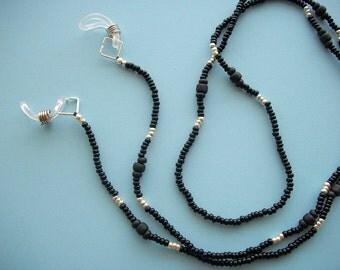 Black Eyeglass Lanyard Beaded Holder Necklace or Leash