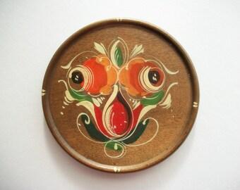 Wooden Coaster Candle Holder or Trivet Hand Painted Folk Art Flowers Vintage
