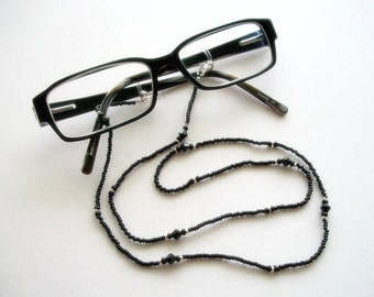 Black Eyeglass Lanyard Beaded Necklace with Jet Black Swarovski Crystals