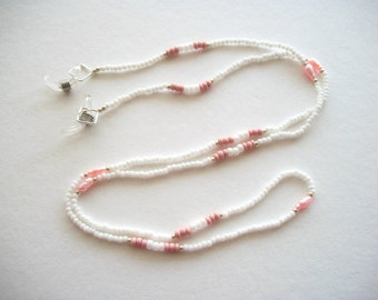 White Eyeglass Necklace Beaded Lanyard with Pink Vintage Fresh Water Pearls