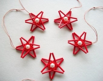 Red Star Ornaments Hand Beaded Tree Hangings with White Faux Pearls