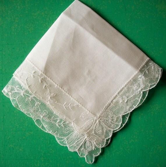 Bridel Handkerchief Italian Lace Vintage Unused
