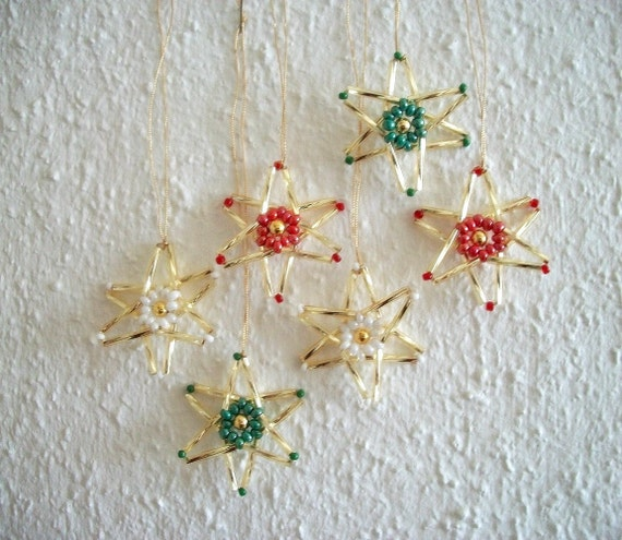 Golden Stars Hand Beaded Christmas Tree Ornaments 6 pcs