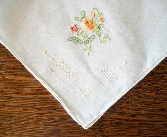 Vintage Unused Handkerchief in Organza Hand Beaded Giftbag
