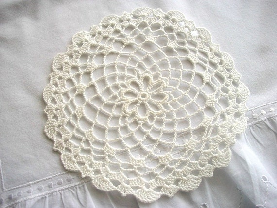 Crochet Doily with Scaloped Edges Off White Cotton