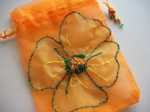 Gift Bag Orange Organza  with Beaded and Embroidered Organza flower