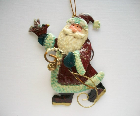 Christmas Ornament Tin Santa Wall Hanging Hand Painted Vintage