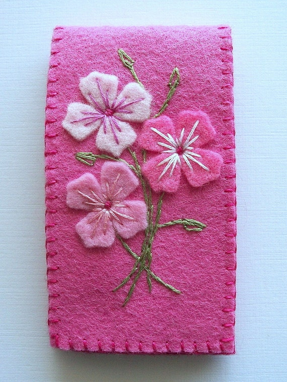Needle case pink felt with embroidered flowers handsewn