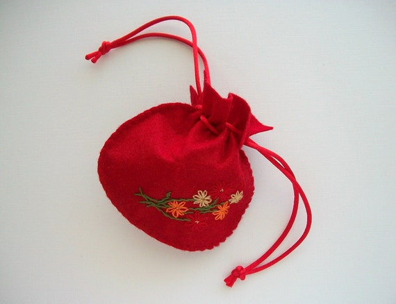 Gift Bag Red Felt Pouch Handsewn Draw String Bag Hand Embroidery