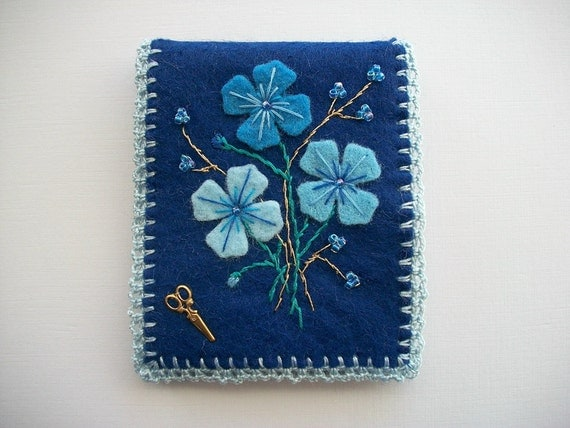 Blue Needle Book Felt Case with Flowers Hand Embroidery and a Crochet Edge