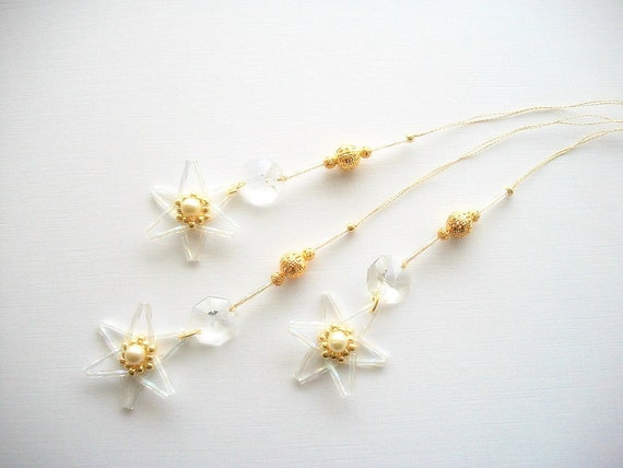 Star Ornaments Crystal and Golden Beaded Hangings with Vintage Crystals and Gold Plated Filigree Beads 3 pcs