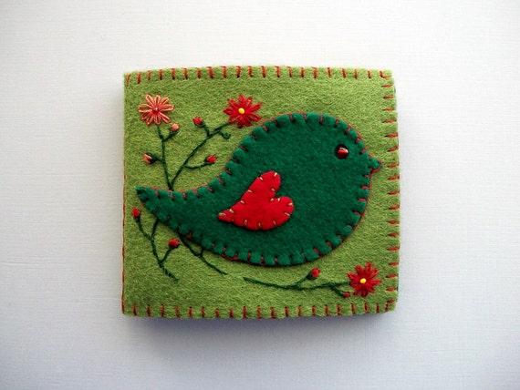 Green Needle Case Felt Organizer With Folk Art Bird Handsewn