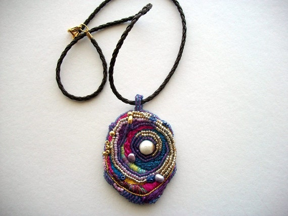Art Necklace Mixed Media Pendant on Braided Leather Cord One of a Kind