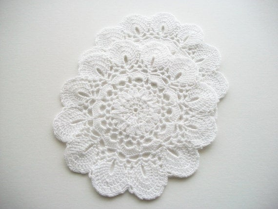 Two Crochet Doilies White Cotton with Scalloped Edges