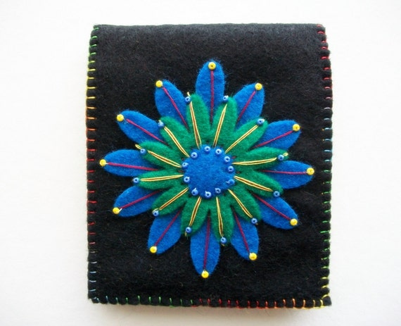 Black Needle Book with Royal Blue and Emerald Green Flower Handsewn