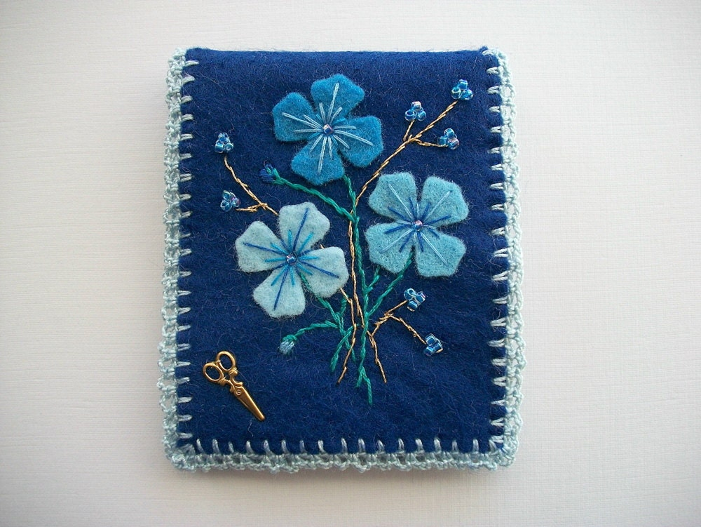 Felt Book Cover Pattern : Blue needle book felt case with flowers hand embroidery and a