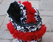 Padded Camera Strap Cover in Black & White Damask w/ Black Minky Dimple Dots and Red Roses