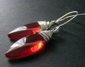 Red Earrings - Wire Wrapped Earrings in Silver. Handmade Jewelry