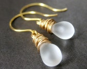 Frosted Glass, Teardrop Earrings, Gold Wire Wrapped. Handmade Jewelry by Gilliauna