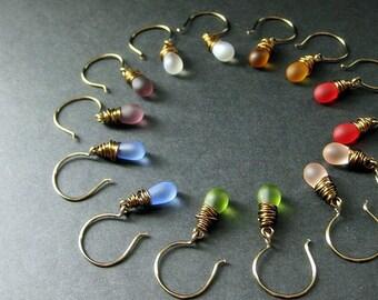 Wire Wrapped Drop Earrings in Frosted Teardrops and Bronze, Set of Seven. Handmade Earrings.