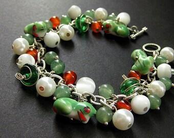 Tree Frog Bracelet. Frog Charm Bracelet. Gemstone Bracelet in Carnelian Agate and Jade. Handmade Jewelry.