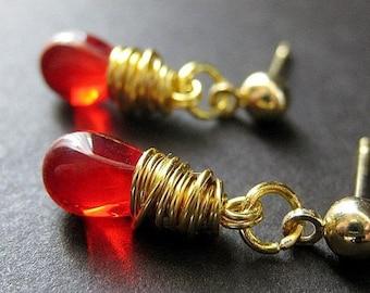 Blood Red Earrings. Gold Wire Wrapped Earrings - Teardrop Post Earring Backs. Handmade Jewelry by Gilliauna