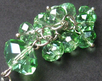 Green Crystal Pendant. Crystal Cluster Charm. Handmade Charm. Crystal Purse Charm, Zipper Pull, Key Chain or Phone Charm.