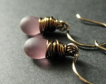 Purple Earrings: Clouded Teardrops Wire Wrapped in Bronze - Elixir of Dreams. Handmade Earrings.