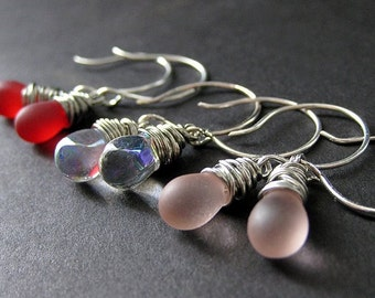 Wire Wrapped Earrings in Silver with Teardrops in Red, Pink and Clear. Passion Elixir Collection Set of Three.