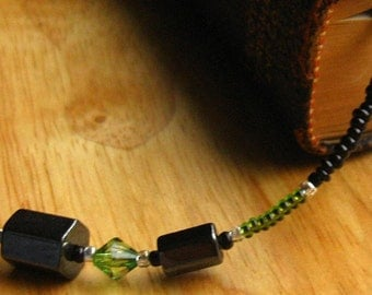 Beaded Bookmark. Black Book Thong. Green Book Marker - Dream In Green. Handmade.