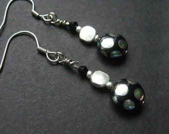 Bead Earrings Black and Silver Polkadots. Handmade Earrings.