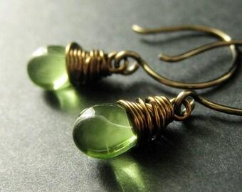 Green Earrings: Teardrop Earrings Wire Wrapped in Bronze - Elixir of Absinthe. Handmade Earrings.