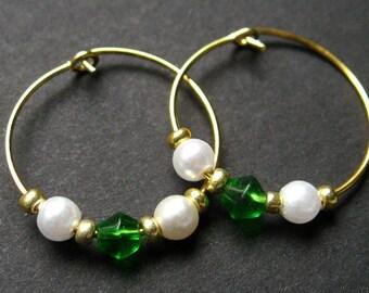 Handmade Hoop Earrings - Classic Beauty in Green. Handmade Earrings.