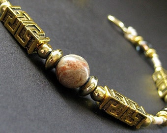 Rhodonite Gemstone Bracelet - Aztec Gold. Handmade Bracelet.
