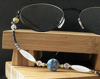 Eyeglass Holder. Blue Moon Eyeglass Necklace. Nurses Lanyard. Blue Eyeglass Chain. Beaded Badge Lanyard. Glasses Necklace. Handmade Lanyard.