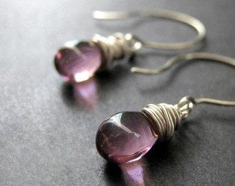 Amethyst Glass Wire Wrapped Earrings in Silver - Elixir of Mystery. Handmade Earrings.