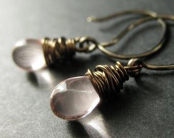 Pink Earrings: Teardrops Wire Wrapped in Bronze - Elixir of Innocence. Handmade Earrings.