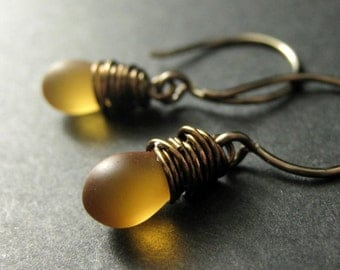 Clouded Amber Earrings: Teardrop Earrings Wire Wrapped in Bronze - Elixir of Nectar. Handmade Earrings.