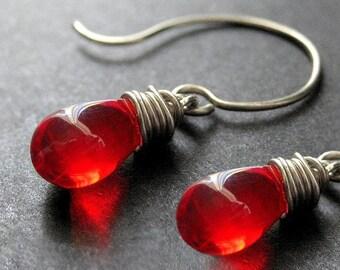 Wire Wrapped Earrings - Teardrop Earrings in Red and Silver - Elixir of Blood. Handmade Earrings.