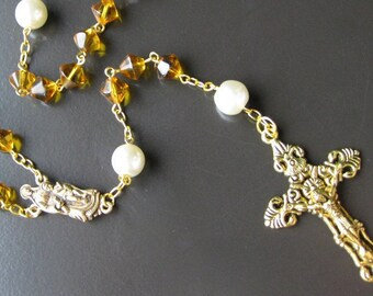 Gold Rosary Necklace. Catholic Rosary in Yellow Amber and Pearl. Handmade Rosaries by Gilliauna