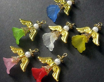 Guardian Angel Charm. Angel Pendant. (PICK YOUR COLOR) Angel Keyring, Car Charm, Zipper Pull, Purse Charm or Phone Charm.