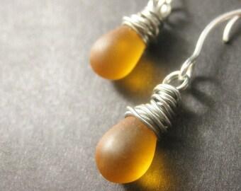 Amber Teardrop Earrings: Wire Wrapped Earrings in Silver - Elixir of Nectar. Handmade Earrings.