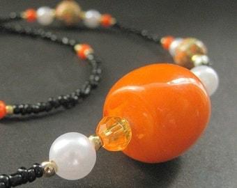 Orange Badge Lanyard. Orange Glasses Necklace. Orange Eyeglass Chain. Student Lanyard. Black Eyeglass Holder. Handmade Orange Lanyard.